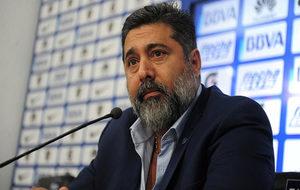 Daniel Angelici, durante la rueda de prensa ofrecido en la Bombonera.