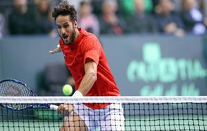 Feliciano L�pez durante la pasada eliminatoria de Copa Davis ante...