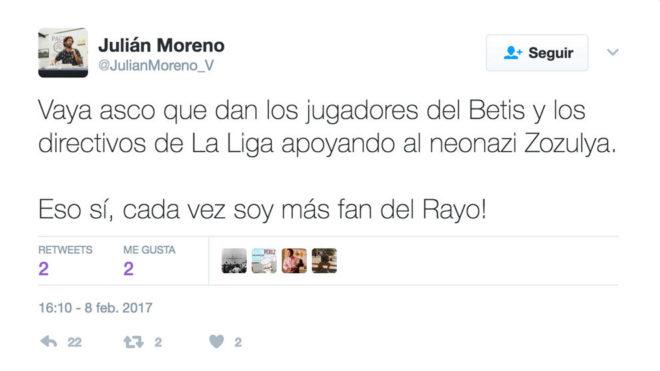 Tuit del Concejal del Ayuntamiento de Sevilla, Julián Moreno