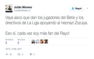 Tuit del Concejal del Ayuntamiento de Sevilla, Juli�n Moreno