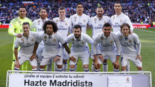 Foto previa en un partido en el Bernabéu