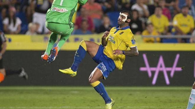 Míchel Macedo, en un partido de Las Palmas.
