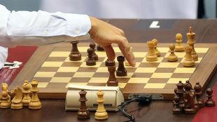 Tabla de ajedrez en una imagen de archivo.