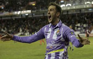 Juan Villar celebra un gol con el Valladolid durante este curso.
