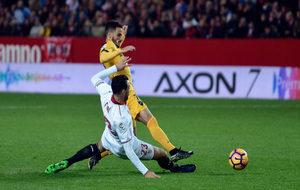 Juankar en el partido frente al Sevilla FC