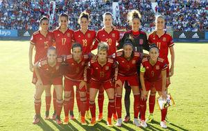 Once inicial de España durante un partido de la fase de...