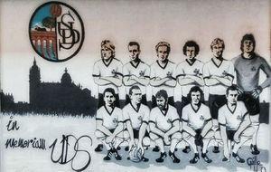El mural, obra de Guillermo Mesonero, con once de los jugadores más...