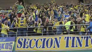 La afición del Cádiz en su desplazamiento a Córdoba esta temporada