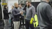 Valtteri Bottas durante el entrenamiento de los mec�nicos de Mercedes