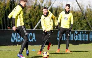 Sesión preparatoria en A Madroa ante del partido frente al Atlético...