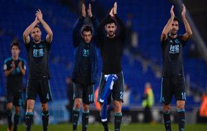 Los jugadores de la Real tras un partido.