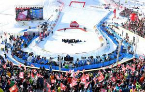 Zona de llegada de los Mundiales de esquí alpino en St. Moritz