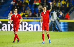 Joaqu�n Correa celebra el gol del triunfo ante la UD Las Palmas.