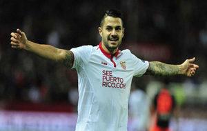 Vitolo, en un partido con el Sevilla.