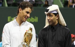 El máximo dirigente del PSG, Nasser Al-Khelaïfi, y Rafa Nadal.