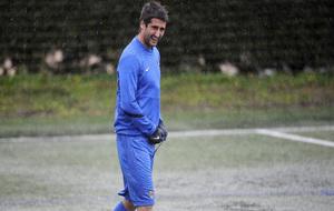 Markel durante un entrenamiento con la Real Sociedad.