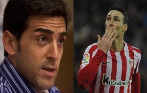 A la derecha, Juanjo Lorenzo, a la derecha, Aduriz.