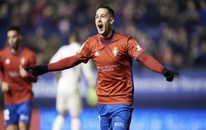 Sergio León celebrando un gol en un partido de Osasuna