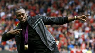 Usain Bolt durante una visita a Old Trafford