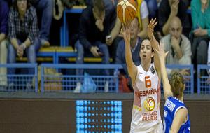 Silvia Domínguez, en un encuentro con la selección