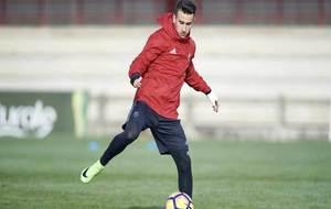 Álex Berenguer, en un entrenamiento de Osasuna en las instalaciones...