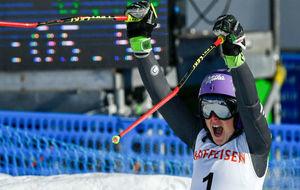 Tessa Worley, tras ganar el campeonato del mundo de eslalon gigante.