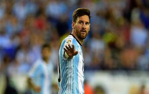 Messi, en un partido con la selección argentina.