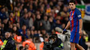 Luis Suárez durante el encuentro de ida de las semifinales de Copa...