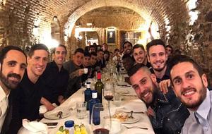 Los jugadores del Atlético de Madrid en un restaurante