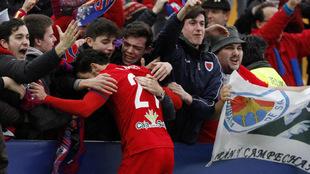 La afición del Numancia celebrando el 1-3 marcado por Julio Álvarez.