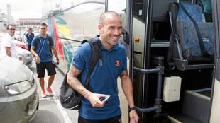 Apoño durante su etapa de jugador con Las Palmas