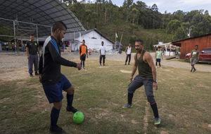 Guerrilleros de las FARC entrenan en la zona de recepción de la selva...