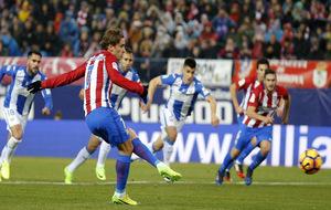 Griezmann, en su último penalti tirado contra el Leganés