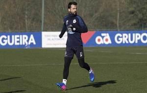 Bruno Gama, durante un entrenamiento con el Deportivo.
