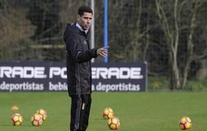 Hierro, durante un entrenamiento del Oviedo.
