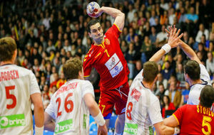 Kiril Lazarov, en un partido con Macedonia en el pasado Mundial