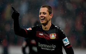 Chicharito, celebrando un gol con el Bayer Leverkusen.