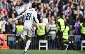 Morata celebra el gol logrado ante el Espanyol.