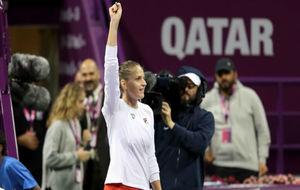Pliskova levanta el brazo en señal de victoria