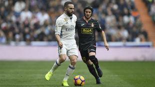 Dani Carvajal en el encuentro ante el Espanyol