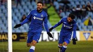 Molina celebra su gol ante el Cádiz