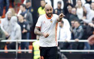 Zaza celebra el segundo gol del Valencia en Mestalla