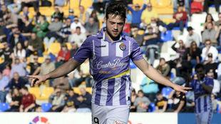 Jose celebra uno de los goles ante el UCAM.