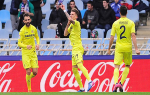 Samu Castillejo celebra el gol que dio la victoria al Villarreal en...
