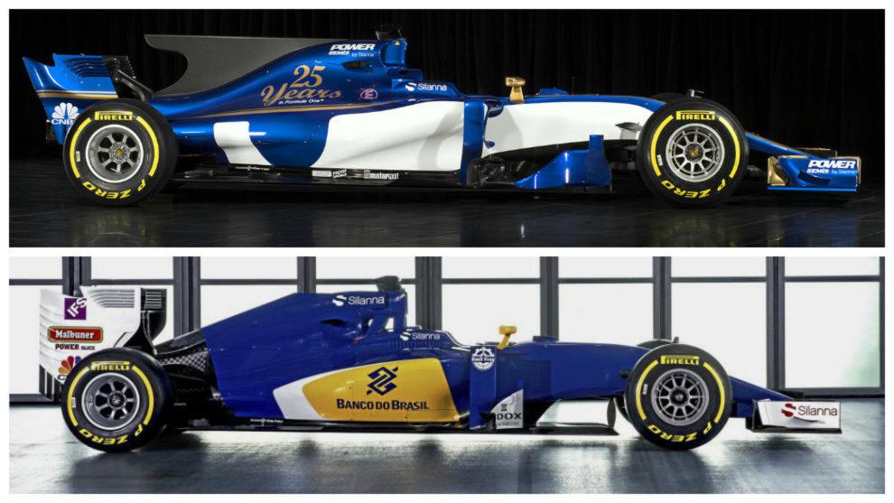 El Sauber C36-Ferrari de 2017 (arriba) y el C35 de 2016 vistos de...