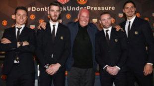 Wayne Rooney, Zlatan Ibrahimovic, David De Gea y Ander Herrera con...