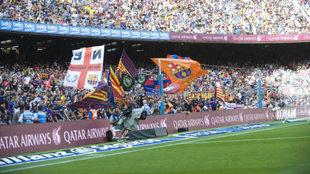 El Espacio de Animación del Camp Nou durante un partido de esta...
