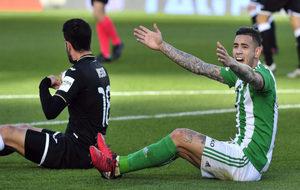 Sanabria se queja durante el partido contra el Leganés.