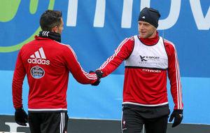 Hugo Mallo y Guidetti durante un entrenamiento.