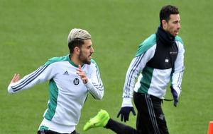 Ceballos, junto a Rubén en un entrenamiento